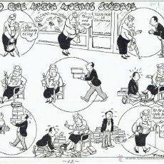 Cómics: DIBUJO ORIGINAL TINEZ 1946 - LO QUE HACEN MUCHAS SEÑORAS - PVP 150€. Lote 49031261