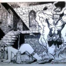 Cómics: LA ABADIA - ORIGINAL A TINTA, FIRMADO. 30 X 42 CM.. Lote 49649666