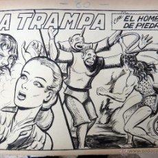 Cómics: DIBUJO ORIGINAL PLUMILLA , PURK EL HOMBRE DE PIEDRA Nº 80 , MANUEL GAGO , PORTADA + 10 HOJAS , F. Lote 49654929