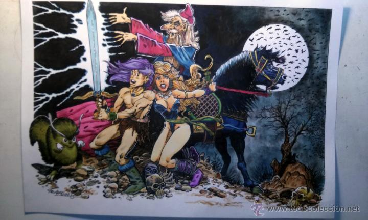 LA ESPADA MAGICA- MAGNIFICA ILUSTRACION ORIGINAL, FIRMADA. 30 X 42 CM. (Tebeos y Comics - Art Comic)