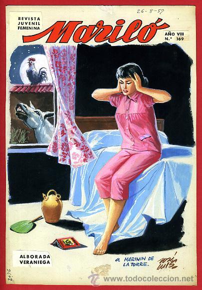 DIBUJO ORIGINAL COLOR , PORTADA DE MARILO Nº 169 , JOSE LUIS ,ORIGINAL, G (Tebeos y Comics - Art Comic)