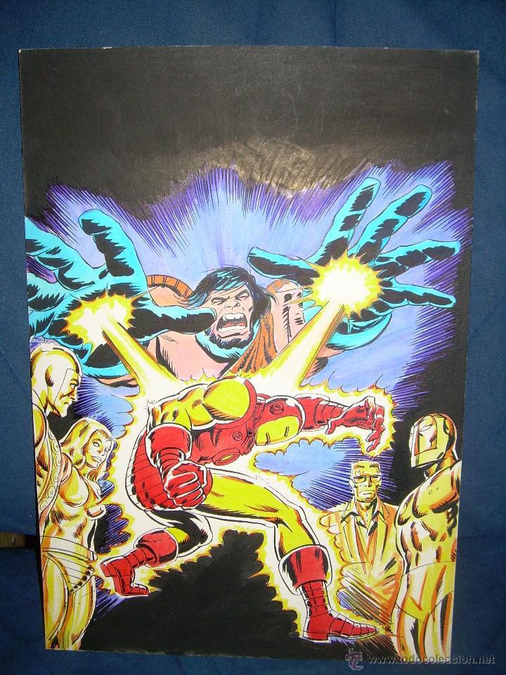 PORTADA ORIGINAL DE LÓPEZ ESPI EL HOMBRE DE HIERRO (Tebeos y Comics - Art Comic)