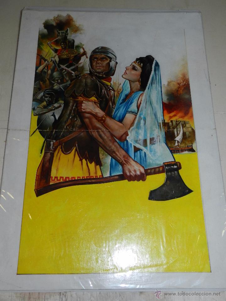 Cómics: (P27) DIBUJO ORIGINAL DE GABRIEL , PORTADA DE LA PELICULA CARTAGO EN LLAMAS - Foto 2 - 50726916