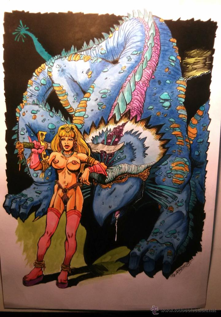 MONSTRUITO AZUL. ORIGINAL, FIRMADO. A3. (Tebeos y Comics - Art Comic)