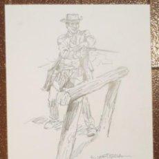 Cómics: DIBUJO ILUSTRACIÓN ORIGINAL OESTE DE RAFAEL CORTIELLA ORIGINAL ART DRAWING. Lote 53501752