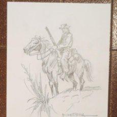 Cómics: DIBUJO ILUSTRACIÓN ORIGINAL OESTE DE RAFAEL CORTIELLA ORIGINAL ART DRAWING. Lote 53501807