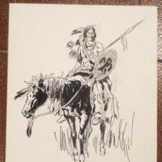 Cómics: DIBUJO ILUSTRACIÓN ORIGINAL OESTE DE RAFAEL CORTIELLA ORIGINAL ART DRAWING. Lote 53502252