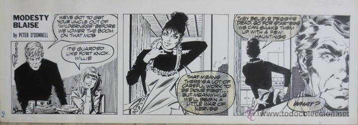 TIRA ORIGINAL MODESTY BLAISE Nº 3477 DE ENRIC BADIA ROMERO ORIGINAL ART DAILY STRIP (Tebeos y Comics - Art Comic)
