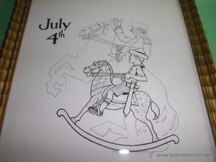 Cómics: Precioso dibujo tinta 4 Julio original USA ilustración niño caballo balancín George Washington 40´s - Foto 2 - 53809828