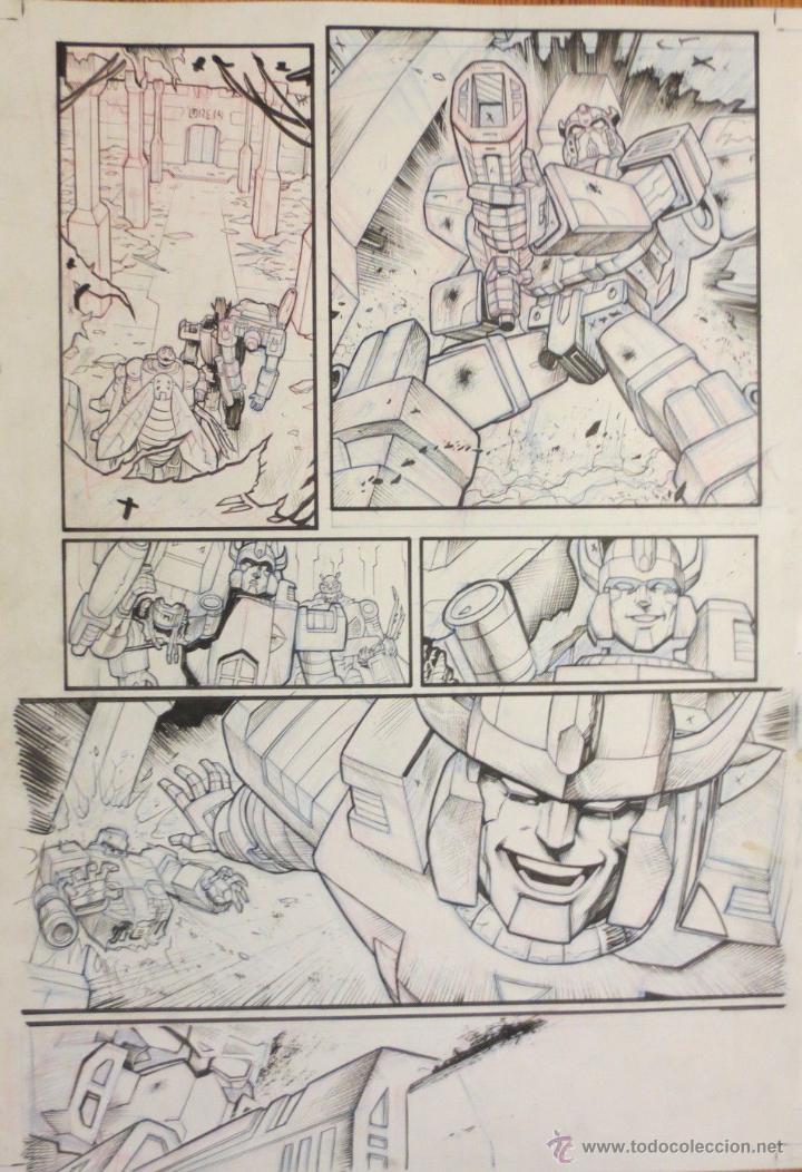 PAGINA ORIGINAL TRANSFORMERS DARK CYBERTRON DE ATILIO ROJO COMIC ART PAGE (Tebeos y Comics - Comics - Art Comic)