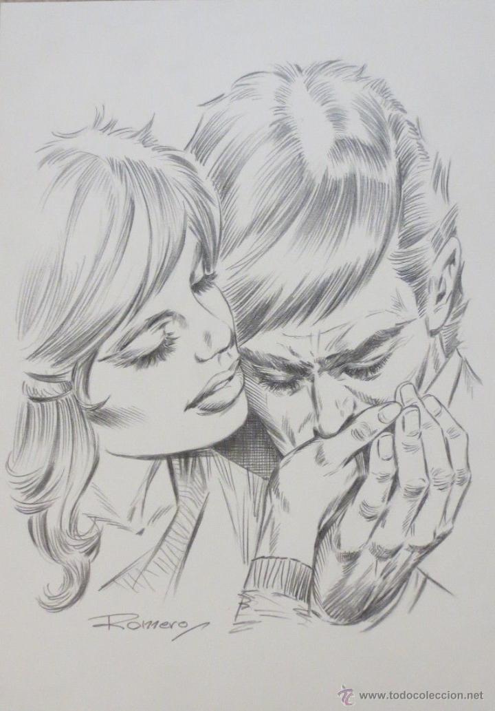 DIBUJO ILUSTRACION ORIGINAL ROMANTICA 2 DE ENRIC BADIA ROMERO ORIGINAL ART (Tebeos y Comics - Comics - Art Comic)