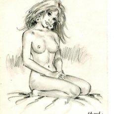 Cómics: DIBUJO ORIGINAL JAN EUROPA / ANA DESNUDA DE EDMOND RIPOLL / ART NUDE. Lote 53871391