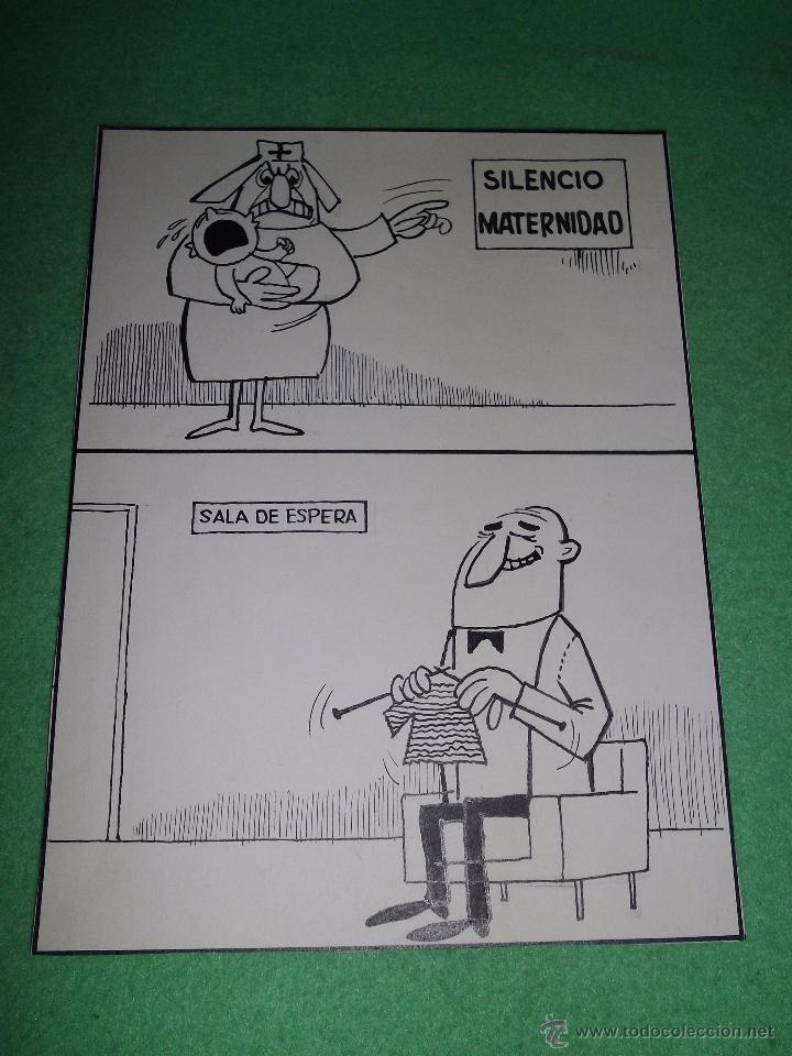 DIVERTIDA ILUSTRACION DIBUJO TINTA PLUMILLA MATRONA AÑOS 40 VIÑETA MATERNIDAD CARICATURA (Tebeos y Comics - Art Comic)