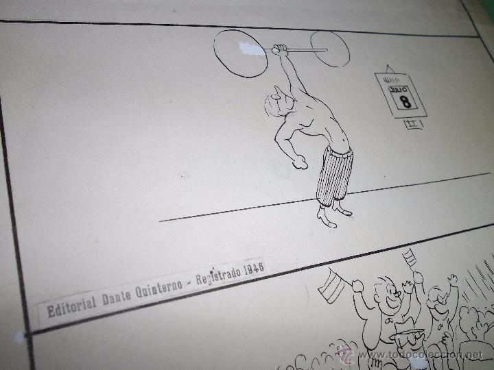 Cómics: Divertido dibujo tinta -entrenamiento- original ilustración viñeta 1946 firmado Mirco gimnasio pesas - Foto 3 - 54418731