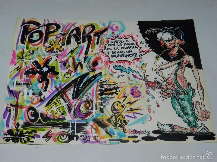 (D210) DIBUJO ORGINAL DE D MONROS 1982 , DIBUJANTE DE MAKOKI , 46 X 33 CM, BUEN ESTADO (Tebeos y Comics - Art Comic)