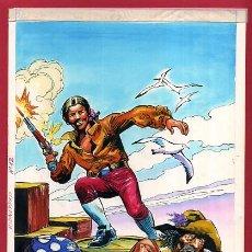 Cómics: DIBUJO ORIGINAL COLOR, PORTADA LIBROS GRAFICOS Nº 12 , KIDNAPPED , ORIGINAL , J. Lote 56125765