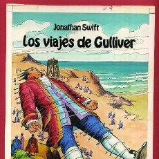 Cómics: DIBUJO ORIGINAL COLOR, PORTADA LIBROS GRAFICOS Nº 9 , LOS VIAJES DE GULLIVER , ORIGINAL , J. Lote 56125784