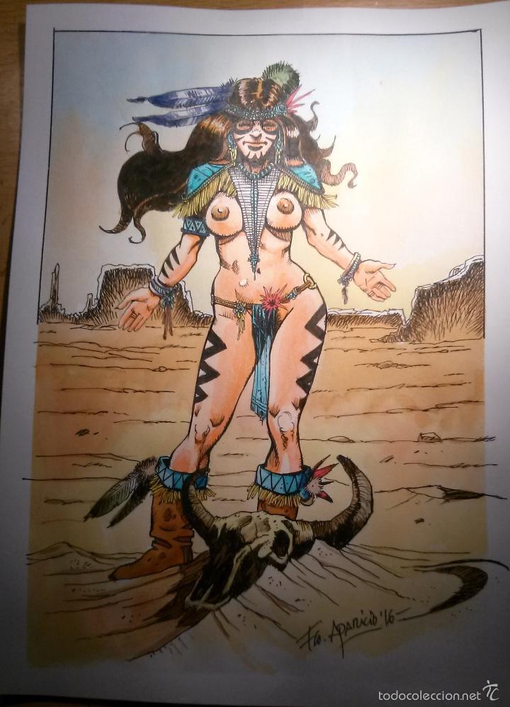 GRAN SPIRITU - BONITO ORIGINAL FIRMADO. A4 PAPEL DE CALIDAD. TECNICA TINTA Y ACUARELA. (Tebeos y Comics - Art Comic)
