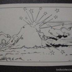 Cómics: MORENO - DIBUJO ORIGINAL A PLUMA - CACERIA DEL BISONTE - VER FOTOS-MIDE 17X23 CM.- (V-6384) . Lote 58189255