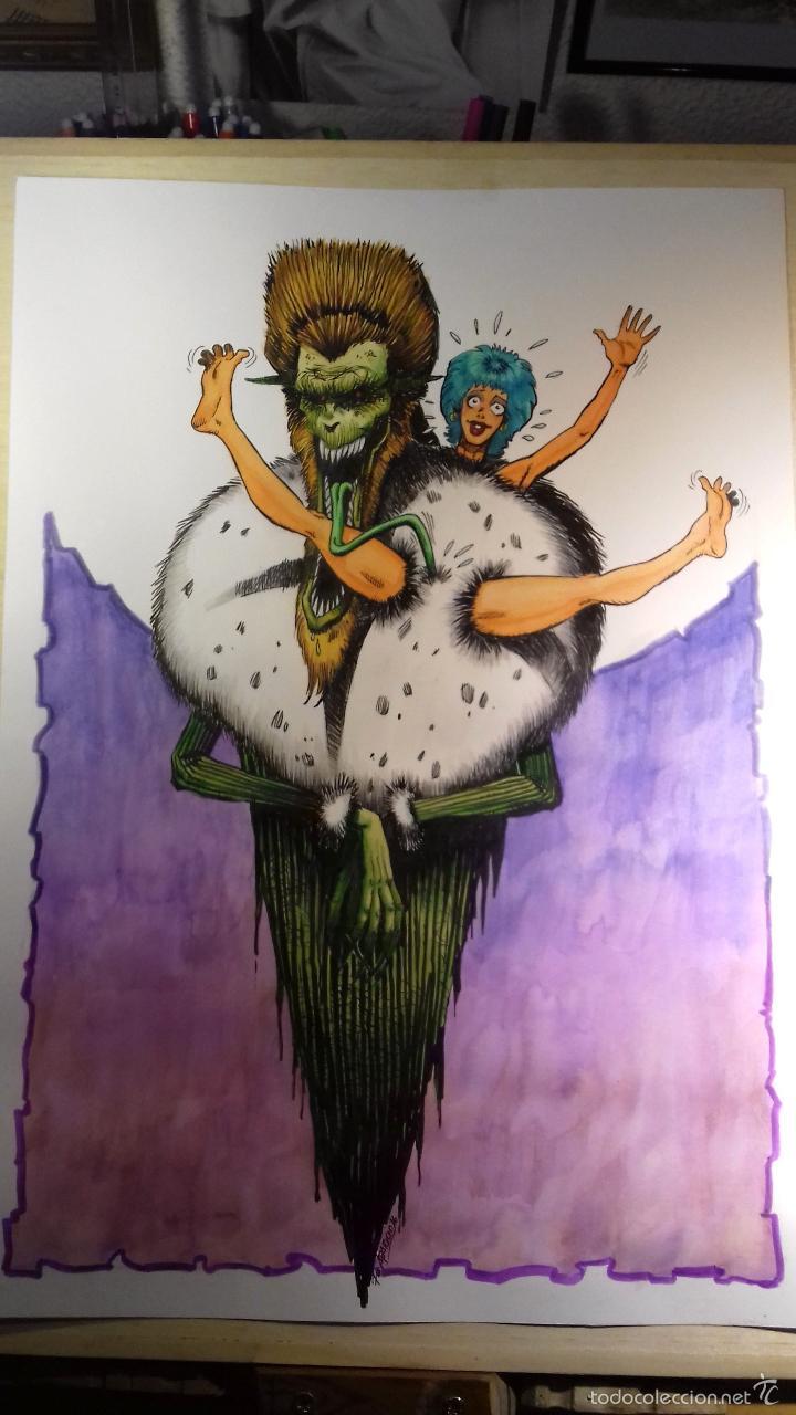 UN MONSTRUO VIENE A JUGAR CONMIGO - ORIGINAL FIRMADO. 42 X 30 CM. (Tebeos y Comics - Art Comic)