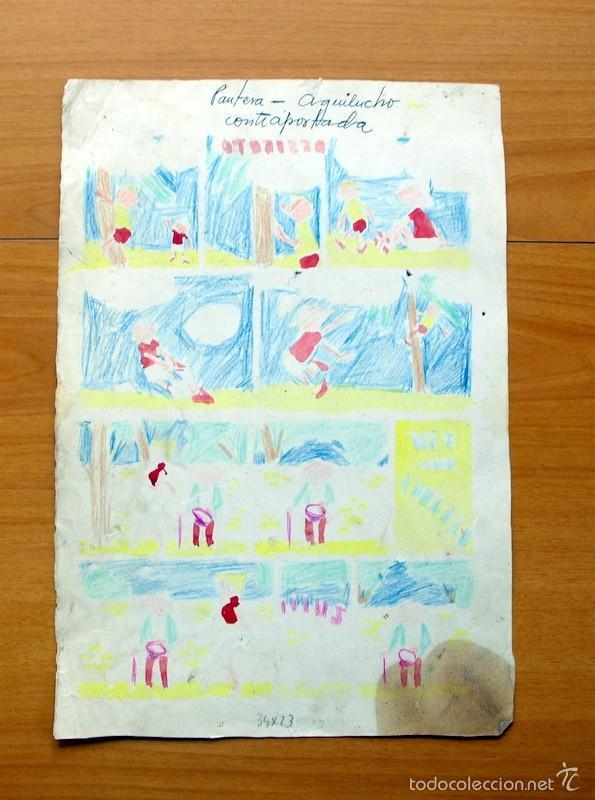 Cómics: Dibujo original - Contraportada Almanaque Pantera Negra - El Aguilucho - Editorial Maga - Foto 2 - 61307971
