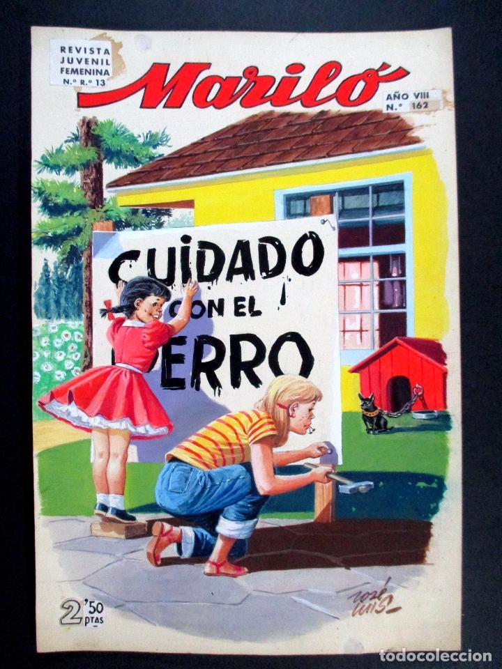 DIBUJO ORIGINAL COLOR , JOSÉ LUIS , MARILÓ , PORTADA Nº 162 - O7 (Tebeos y Comics - Art Comic)