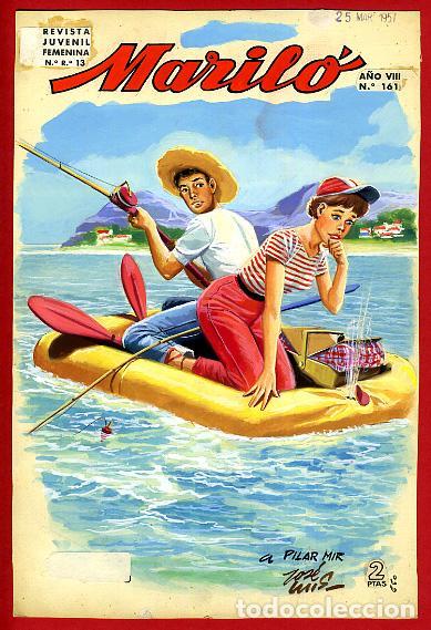 DIBUJO ORIGINAL COLOR, JOSE LUIS , COLECCION MARILO Nº 161 , ORIGINAL (Tebeos y Comics - Art Comic)
