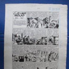 Cómics: EL LAGO ROJO. AVENTURA COMPLETA EN DOS HOJAS DE JOSE GRAU. PLANCHAS ORIGINALES. Lote 67314277
