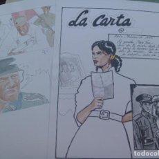 Cómics: LOTE DE DOS HOJAS DE COMIC INCONCLUSO SOBRE LA DIVISION AZUL. TAL SE VE. Lote 76781027