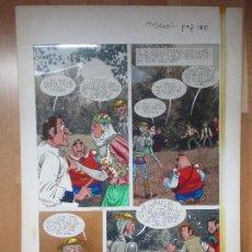 Cómics: DIBUJO ORIGINAL DON QUIJOTE DE LA MANCHA, PINTADO A MANO, 1972, TOMO 3 - PAG.135. Lote 78877465