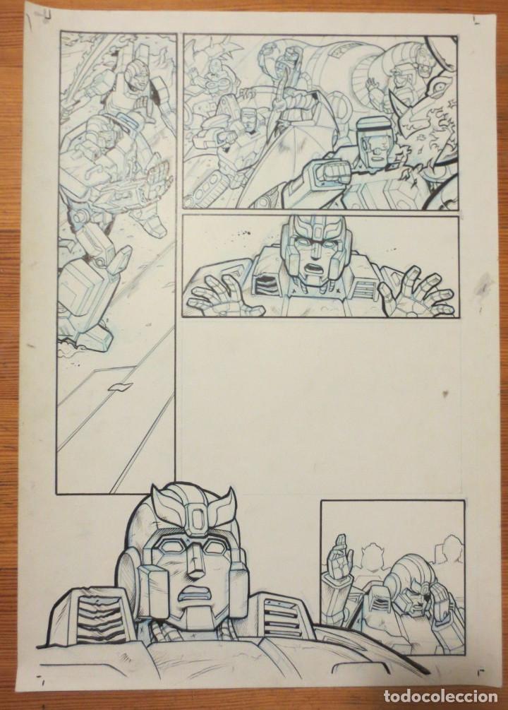 PAGINA ORIGINAL TRANSFORMERS ATILIO ROJO COMIC ART PAGE (Tebeos y Comics - Comics - Art Comic)