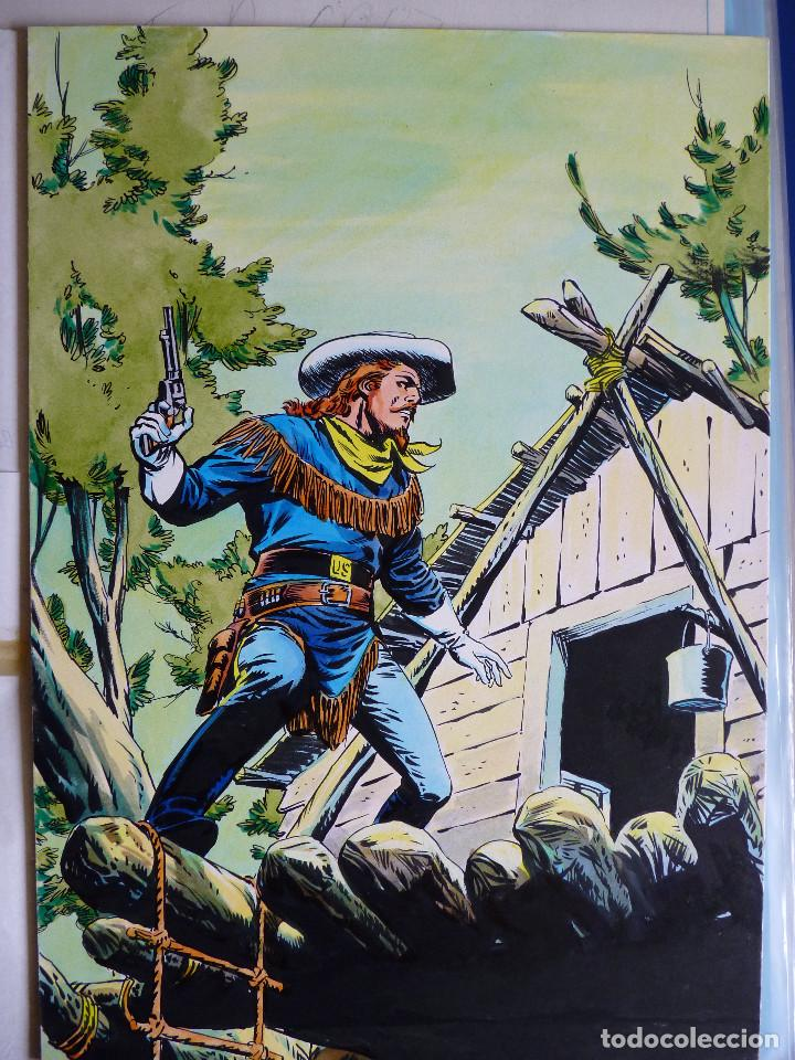 PORTADA ORIGINAL LOPEZ ESPI BUFFALO BILL 7 + COMIC (Tebeos y Comics - Art Comic)