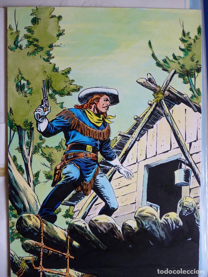 PORTADA ORIGINAL LOPEZ ESPI BUFFALO BILL 7 + COMIC (Tebeos y Comics - Art Comic)