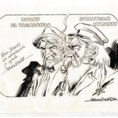 Cómics: JOAN BOIX - DIBUJO ORIGINAL FIRMADO Y DEDICADO A JUAN GARCIA IRANZO - 1992. Lote 80435193