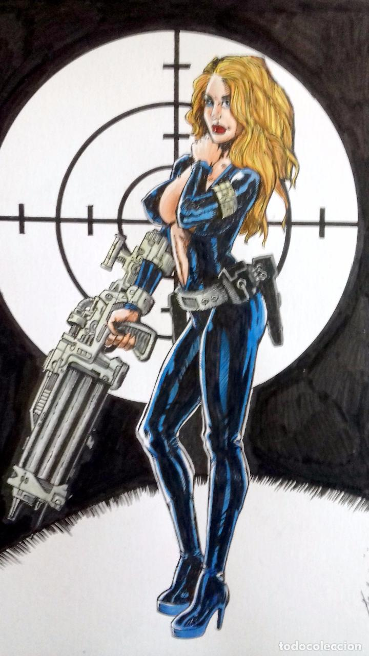 LADY BON BOND - ORIGINAL FIRMADO - 29.5X21.5 CM. (Tebeos y Comics - Art Comic)