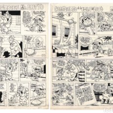 Cómics: CARRILLO. 2 PAGINAS ORIGINALES DE MR MOTTO. Lote 81125704