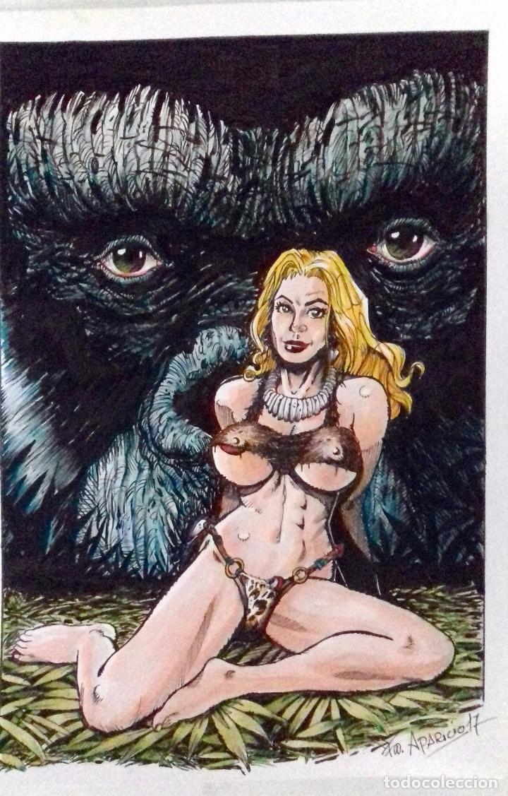 SOLO PARA SUS OJOS - ORIGINAL, TINTA Y ACUARELA. FIRMADO. 21X29.5CM. . (Tebeos y Comics - Art Comic)