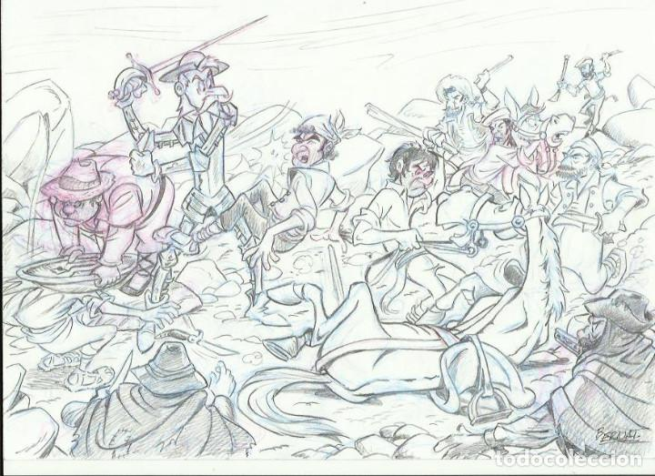 DIBUJO ORIGINAL DON QUIJOTE DE LA MANCHA (Tebeos y Comics - Comics - Art Comic)