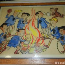 Cómics: (M) DIBUJO ORIGINAL DE ESCOBAR - TAMAÑO 72 X 57 CM, AÑO 1962, JUGADORES DEL FC BARCELONA. Lote 83365292