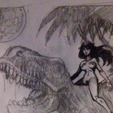 Cómics: DINO-GIRL PREVIO. ORIGINAL LAPIZ, FIRMADO. A4. Lote 87276360