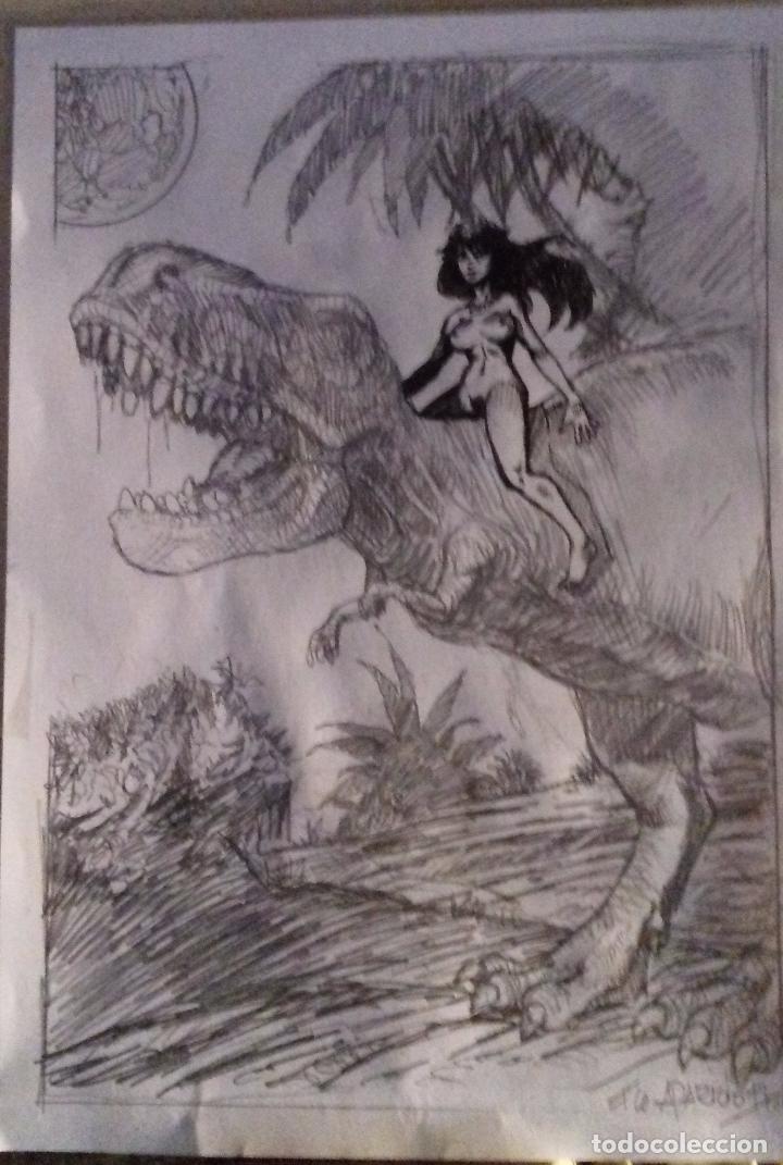 Cómics: DINO-GIRL PREVIO. ORIGINAL LAPIZ, FIRMADO. A4 - Foto 2 - 87276360