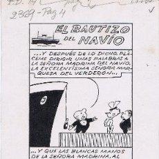 Cómics: ORIGINAL DEL TBO EL BAUTIZO DEL NAVIO. Lote 91231985