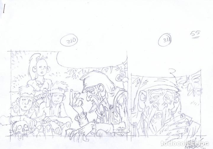 LÁPICES DE CARLOS GIMÉNEZ PARA EL ÁLBUM LA PESTE ESCARLATA LOTE 1 (Tebeos y Comics - Comics - Art Comic)