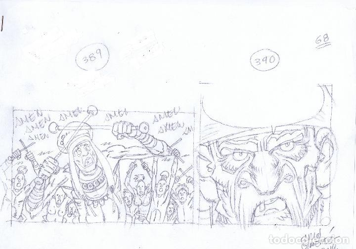 LÁPICES DE CARLOS GIMÉNEZ PARA EL ÁLBUM LA PESTE ESCARLATA LOTE 2 (Tebeos y Comics - Comics - Art Comic)
