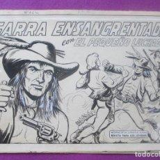 Cómics: DIBUJO ORIGINAL PLUMILLA, EL PEQUEÑO LUCHADOR, GARRA ENSANGRENTADA, Nº164, PORTADA + 10 HOJAS. Lote 102742811