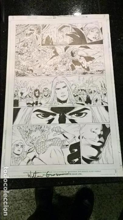 COMIC PAGINA ORIGINAL RED SONJA WRATH OF THE GODS NUMERO 3 PAGINA 6 WALTER GEOVANI FIRMADO 43X29 (Tebeos y Comics - Art Comic)