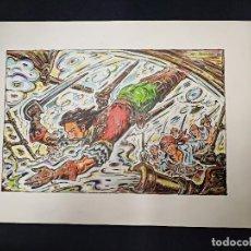 Cómics: DIBUJO ORIGINAL JUAN GARCIA IRANZO (FIRMADO) - EL CACHORRO - A COLOR - GRAN FORMATO - 1981. Lote 104066359