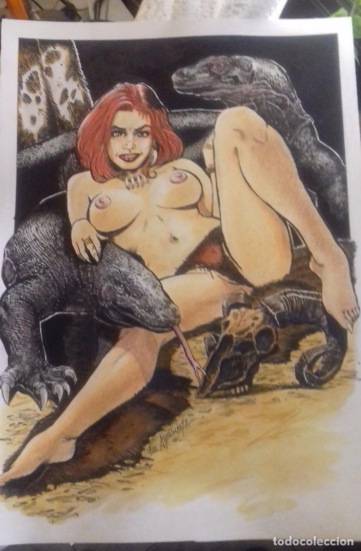 KOMODO QUEEN - DIBUJO ORIGINAL FIRMADO. TECNICA MIXTA. A3. (Tebeos y Comics - Art Comic)