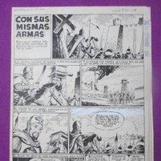 DIBUJO ORIGINAL PLUMILLA, CON SUS MISMAS ARMAS, 1966, JAIMITO Nº98, GUERRERO, 6 HOJAS