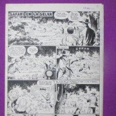 Cómics: DIBUJO ORIGINAL PLUMILLA, SAFARI EN LA SELVA, 1966, GUERRERO, 4 HOJAS, G2. Lote 110153531